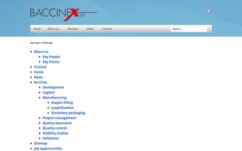Screenshot of Site Map Page baccinex.com - Sitemap - Baccinex - captured Oct. 5, 2018
