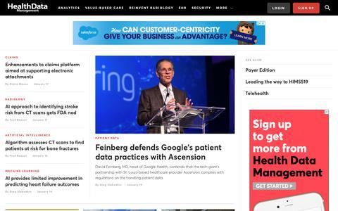 Screenshot of Home Page healthdatamanagement.com - Health Data Management | Health Data Management - captured Jan. 20, 2020