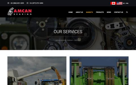 Screenshot of Services Page amcanbearing.com - Services | Amcan Bearing Company - captured Oct. 3, 2018