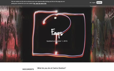 Screenshot of FAQ Page caetrastudios.com - FAQs | Caetra Studios - captured Nov. 4, 2018