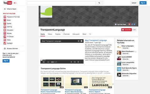 Screenshot of YouTube Page youtube.com - TransparentLanguage  - YouTube - captured Oct. 25, 2014