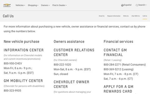 Screenshot of Contact Page chevrolet.com - Contact Us: Contacting Chevrolet via Phone | Chevrolet - captured April 5, 2017