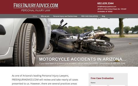 Screenshot of Home Page freeinjuryadvice.com - Law Office of Gary Larson | Phoenix Personal Injury Lawyers - captured Oct. 31, 2016