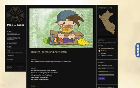 Screenshot of FAQ Page peruinfarbe.de - Peru in Farbe – Dein Praktikum oder Freiwilligendienst in Peru.     FAQ - captured Sept. 29, 2014