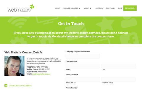 Screenshot of Contact Page webmatters.co.nz - Contact   Web Matters NZ - captured June 12, 2017