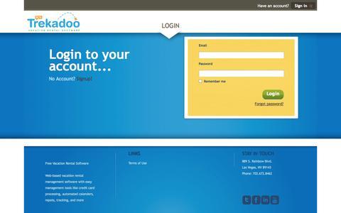 Screenshot of Login Page trekadoo.com - Trekadoo Vacation Rental Software :: Login - captured Oct. 7, 2014