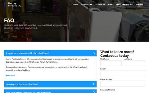 Screenshot of FAQ Page murrayplastics.com - FAQ - Plastics Manufacturing | Custom Plastic Parts - captured Oct. 21, 2017