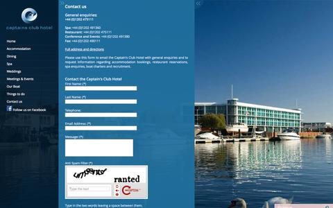 Screenshot of Contact Page captainsclubhotel.com - Captains Club Hotel - captured Sept. 27, 2014