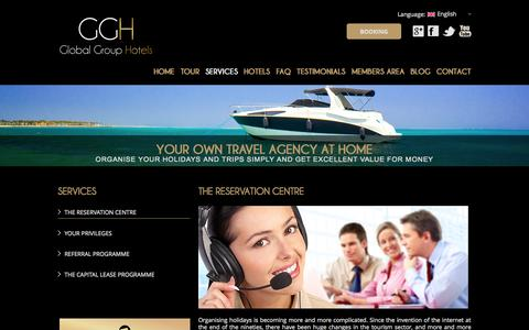 Screenshot of Services Page globalgrouphotels.com - Services - Global Group Hotels - captured Sept. 30, 2014
