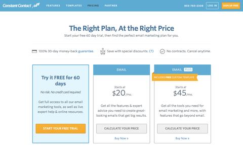 Screenshot of Pricing Page constantcontact.com - Email Marketing Software | Constant Contact Pricing - captured Sept. 3, 2016