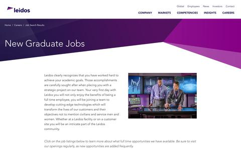 Screenshot of Jobs Page leidos.com - New Graduate Jobs - captured Jan. 29, 2019