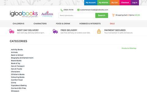 Screenshot of Site Map Page igloobooks.com - Site Map - captured Nov. 21, 2016