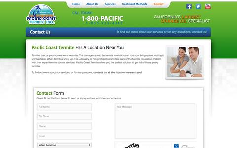 Screenshot of Privacy Page Contact Page pacificcoasttermite.com - Pacific Coast Termite | Call Us at 1-800-722-4342 - captured Oct. 1, 2014