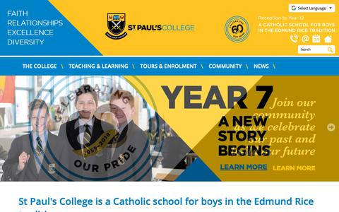 Screenshot of Home Page stpauls.sa.edu.au - St Pauls College | Catholic school for boys from Reception t - captured Oct. 27, 2018