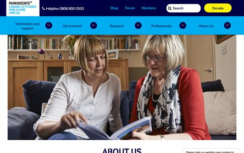 Screenshot of About Page parkinsons.org.uk - About us | Parkinson's UK - captured July 21, 2019