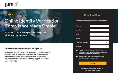 Screenshot of Landing Page jumio.com - Online Customer Identity Verification Compliance Made Simple - captured Sept. 19, 2018