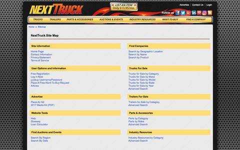 Screenshot of Site Map Page nexttruckonline.com - NextTruck Online Sitemap - captured June 26, 2017