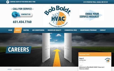 Screenshot of Jobs Page bobhvac.com - Careers | Bob Boldt HVAC - captured Oct. 6, 2018
