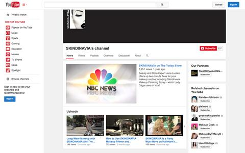 Screenshot of YouTube Page youtube.com - SKINDINAVIA's channel  - YouTube - captured Oct. 23, 2014
