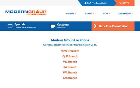 Screenshot of Locations Page moderngroup.com.au - Modern Group Office Locations » Modern Group - captured Nov. 13, 2018