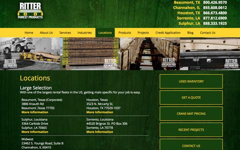 Screenshot of Locations Page ritterforest.com - Hardwood Timber Mat Locations | Mat Rentals & Sales | Ritter Forest Products - captured Dec. 22, 2016