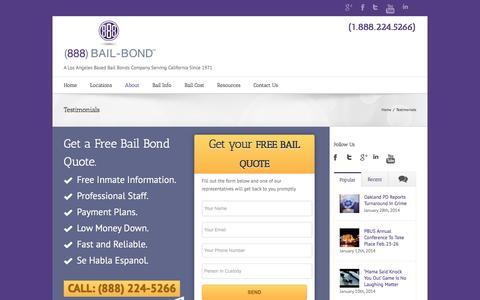 Screenshot of Testimonials Page 888bailbond.com - Client Testimonials & Reviews - 888 Bail Bond | California Bail Bonds - captured Feb. 2, 2016