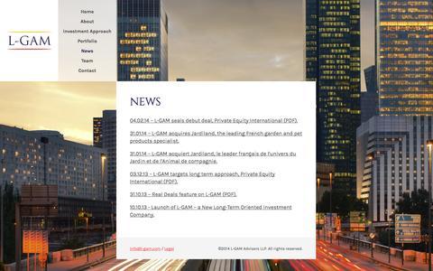 Screenshot of Press Page l-gam.com - L-GAM | News - captured Oct. 1, 2014