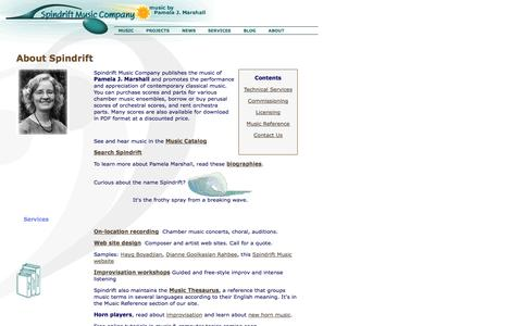Screenshot of About Page Contact Page spindrift.com - About Spindrift Music Company - captured Oct. 1, 2014