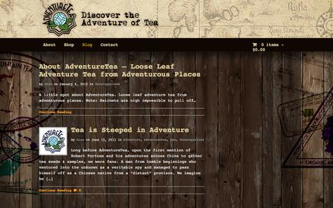 Screenshot of Blog adventure-tea.com - AdventureTea™ Blog | Sharing Adventure and Sipping Tea - captured Feb. 5, 2016