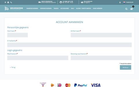 Screenshot of Signup Page beurskens-schoenmode.nl - Nieuw klant-account aanmaken - Beurskens Schoenmode - captured July 29, 2016