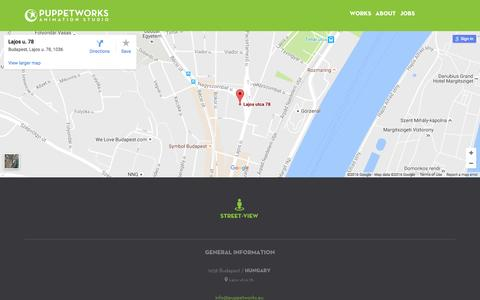 Screenshot of Contact Page Maps & Directions Page puppetworks.eu - MAP - captured Nov. 15, 2016