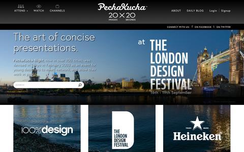 Screenshot of Home Page pechakucha.org - PechaKucha 20x20 - captured Sept. 22, 2014