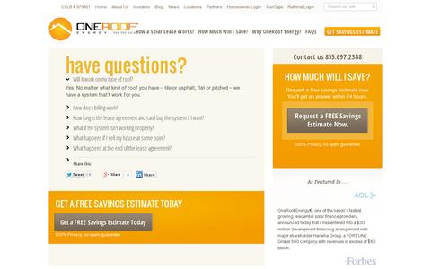 Screenshot of FAQ Page oneroofenergy.com - Have Questions? - OneRoof Energy - captured July 20, 2014