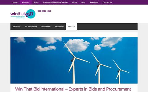 Screenshot of About Page winthatbid.com - About Win That Bid | Bid Less and Win More - captured Oct. 20, 2018