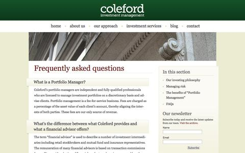 Screenshot of FAQ Page coleford.net - Frequently asked questions – Coleford Investment Management - captured Oct. 8, 2014
