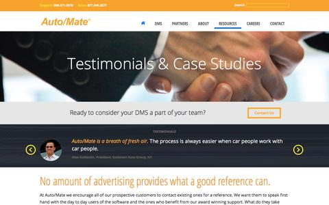 Screenshot of Case Studies Page automate.com - Customer Testimonials | Auto/Mate - captured Oct. 9, 2017