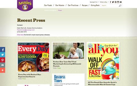 Screenshot of Press Page annies.com - Press - Annie's Homegrown - captured Sept. 25, 2014