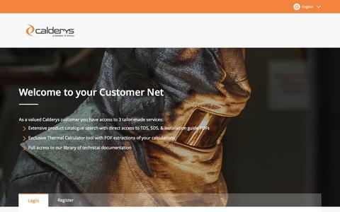 Screenshot of Login Page calderys.com - Customer Net - Login / Register - captured July 13, 2018