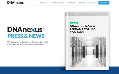 Screenshot of Press Page dnanexus.com - Press and News | DNAnexus - captured May 19, 2019