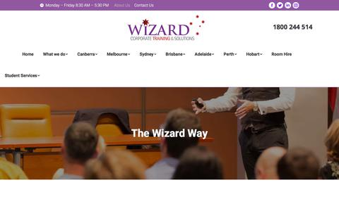 Screenshot of About Page wizardcorporatetraining.com.au - About Us | Wizard Corporate Training & Solutions - captured July 7, 2018