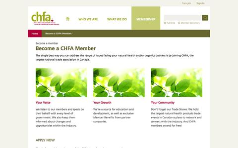 Screenshot of Signup Page chfa.ca - Become a CHFA Member | CHFA - captured Sept. 23, 2014