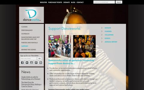 Screenshot of Support Page danceworksmke.org - Support Art and Dance at Danceworks Milwaukee | 414.277.8480 - captured Oct. 5, 2014