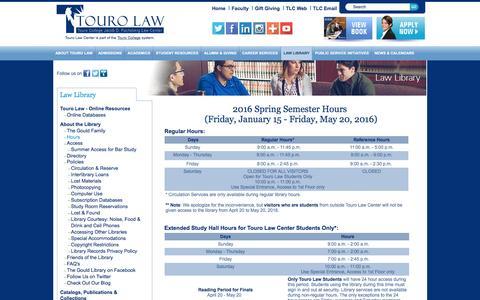 Screenshot of Hours Page tourolaw.edu - Touro Law - Hours - captured Jan. 18, 2016