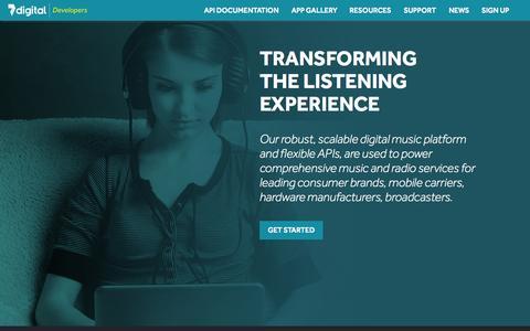 Screenshot of Developers Page 7digital.com - 7digital Developers - captured Nov. 10, 2015