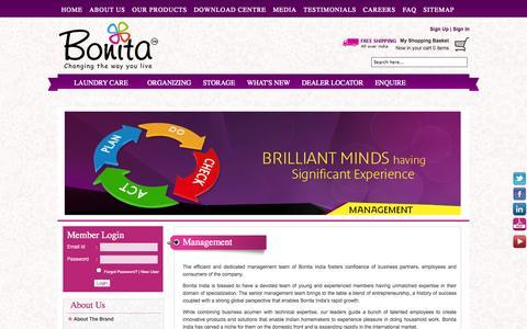 Screenshot of Team Page bonitaindia.com - Management - captured Oct. 10, 2014