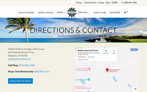 Screenshot of Contact Page Maps & Directions Page waikoloabeachgolf.com - Directions & Contact - Waikoloa Beach Resort Golf - captured Oct. 21, 2018