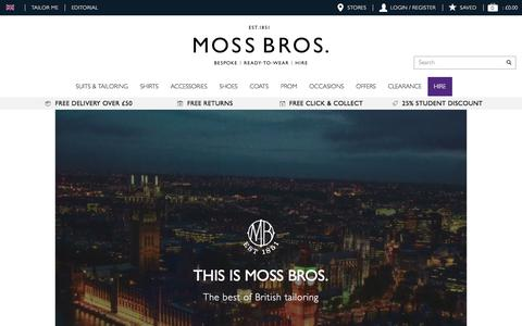 Screenshot of About Page moss.co.uk - About Us | Moss | Leading Formal Menswear Specialist - captured May 5, 2017