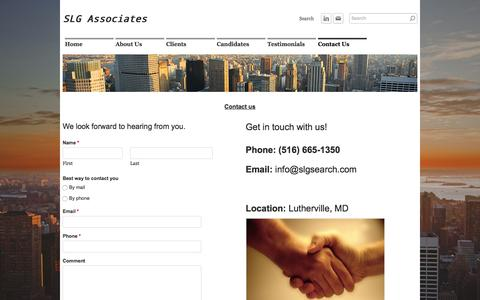 Screenshot of Contact Page slgsearch.com - Contact Us - SLG Associates - captured Feb. 2, 2016