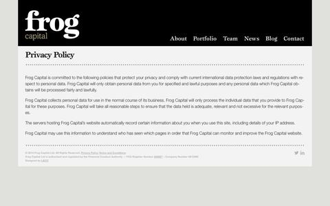Screenshot of Privacy Page frogcapital.com - Privacy Policy - Frog - captured Sept. 30, 2014