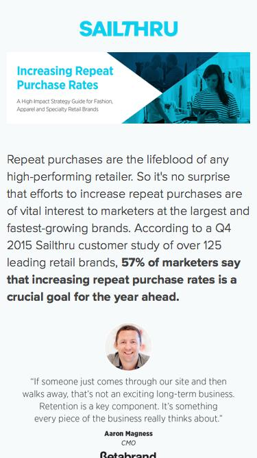 Increasing Repeat Purchases for Retailers | Sailthru